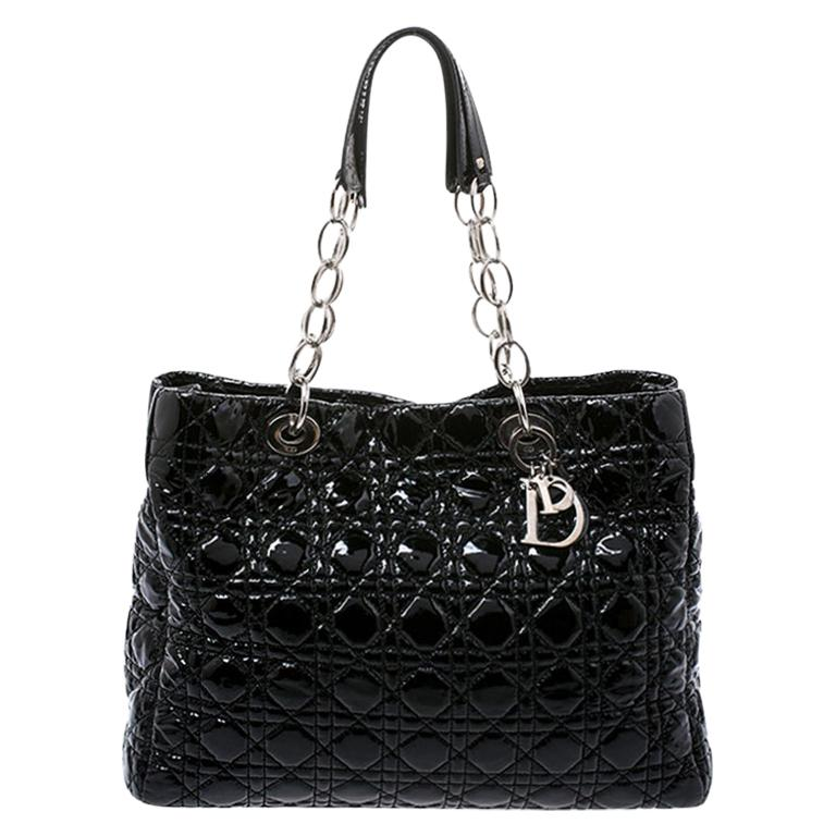 Dior Black Cannage Quilted Soft Patent Leather Large Shopper Tote For Sale