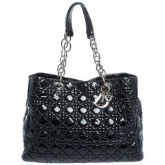 Dior Black Cannage Quilted Soft Patent Leather Large Shopping Tote