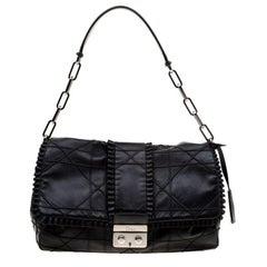 Dior Black Cannage Ruffle Leather New Lock Flap Bag