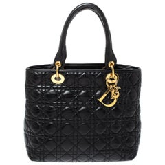 Dior Black Cannage Soft Leather Lady Dior Tote