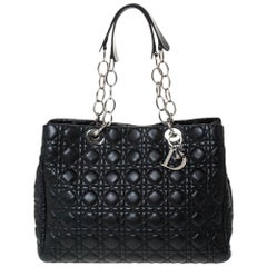Dior Black Cannage Soft Leather Large Shopping Tote