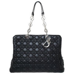 Dior Black Cannage Soft Leather Zipped Shopping Tote