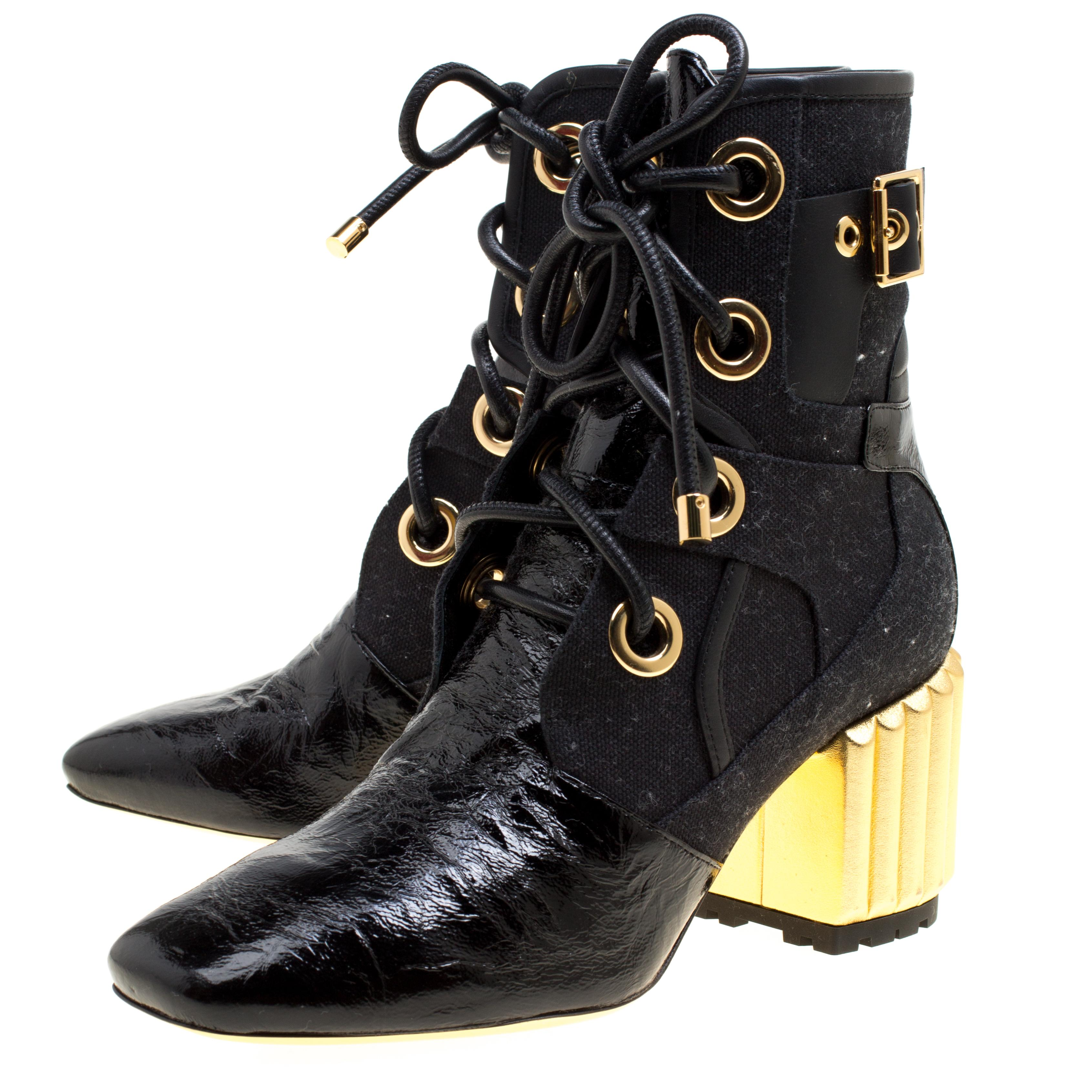3711c87eb01c4 Dior Black Canvas and Crinkled Leather Sculpted Block Heel Ankle Boots Size  35.5 For Sale at 1stdibs