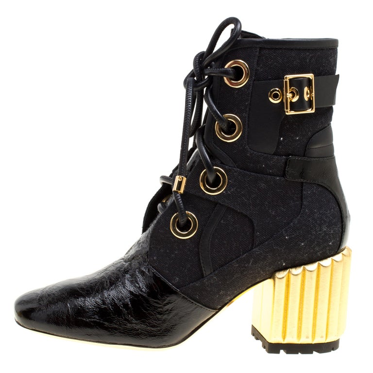 5e172b3d5c47a Dior Black Canvas and Crinkled Leather Sculpted Block Heel Ankle Boots Size  35.5 For Sale