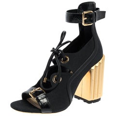 Dior Black Canvas And Leather Glorious Ankle Strap Block Heel Sandals Size 39