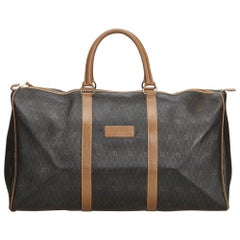 Dior Black Coated Canvas Fabric Honeycomb Duffle Bag France
