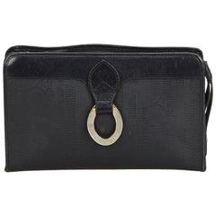 Dior Black Coated Canvas Fabric Oblique Clutch Bag France