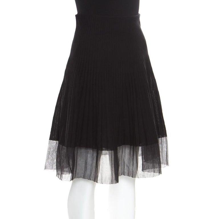 Dior Black Cotton Pleated Sheer Hem Detail Flared Midi Skirt M In Good Condition In Dubai, Al Qouz 2