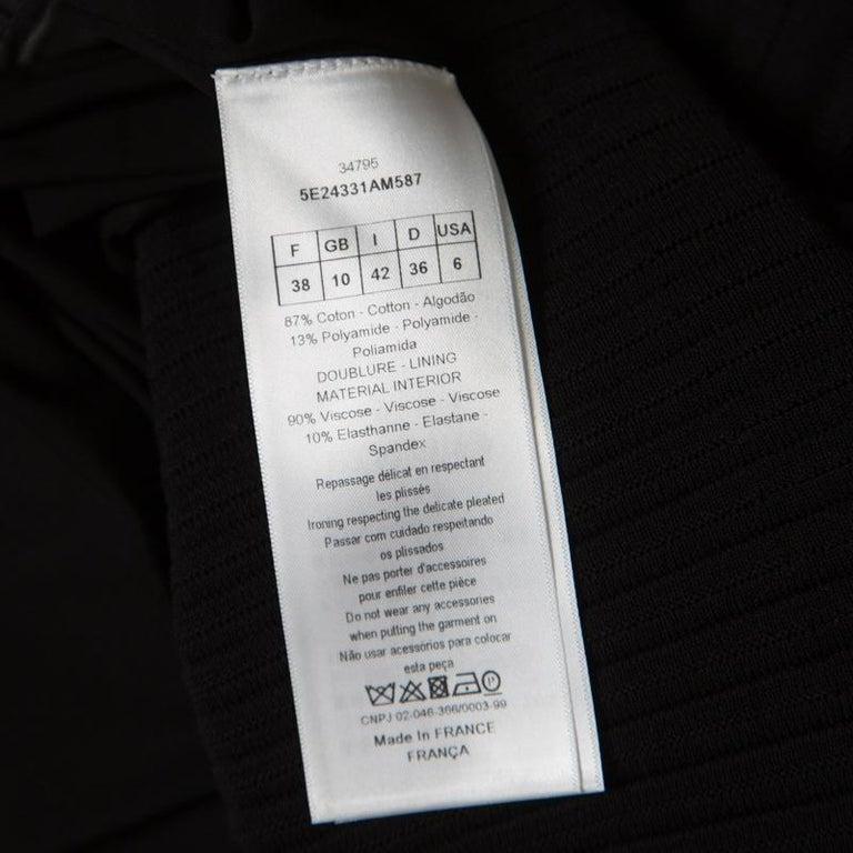 Women's Dior Black Cotton Pleated Sheer Hem Detail Flared Midi Skirt M