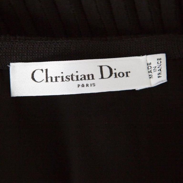Dior Black Cotton Pleated Sheer Hem Detail Flared Midi Skirt M 1