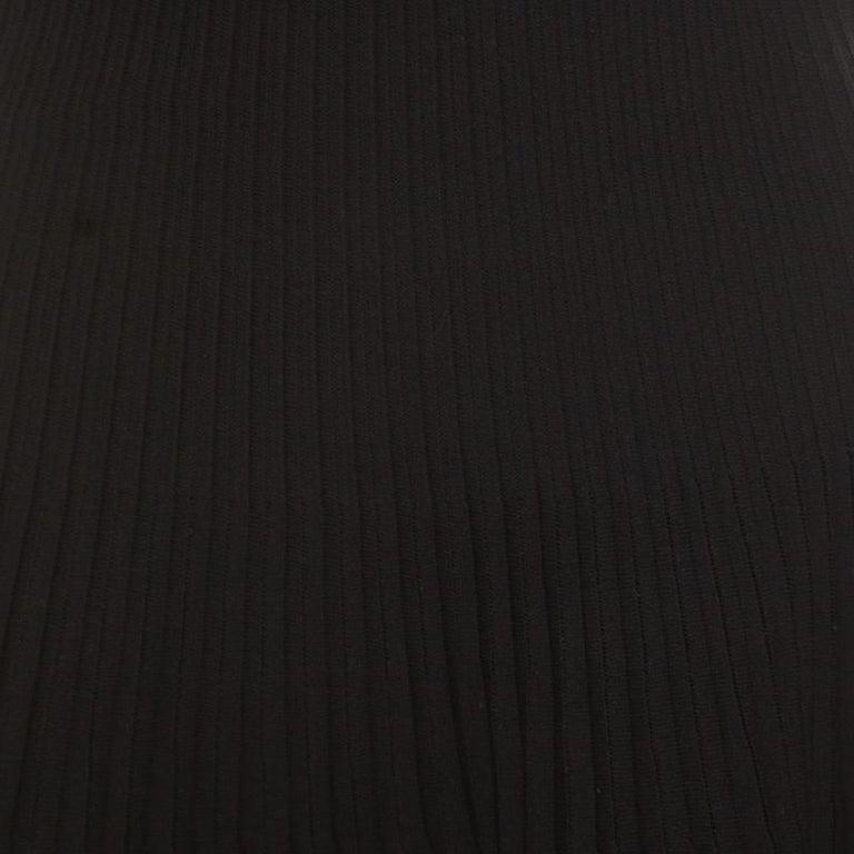 Dior Black Cotton Pleated Sheer Hem Detail Flared Midi Skirt M 2