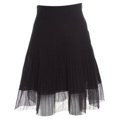 Dior Black Cotton Pleated Sheer Hem Detail Flared Midi Skirt M