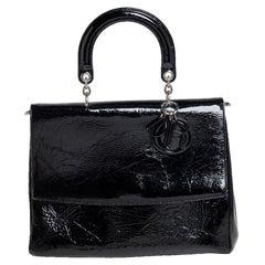 Dior Black Crinkled Patent Leather Be Dior Flap Top Handle Bag
