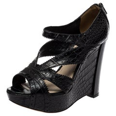 Dior Black Croc Embossed Leather Wedge Platform Strappy Sandals Size 38.5