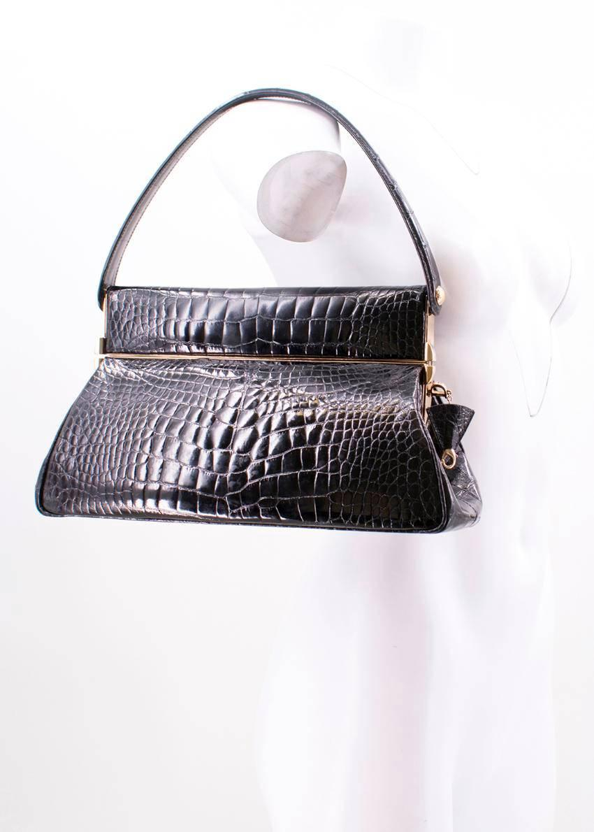 Dior Dior Black Crocodile Babe Bag With Concealed Mirror Compartment kfA358RLu