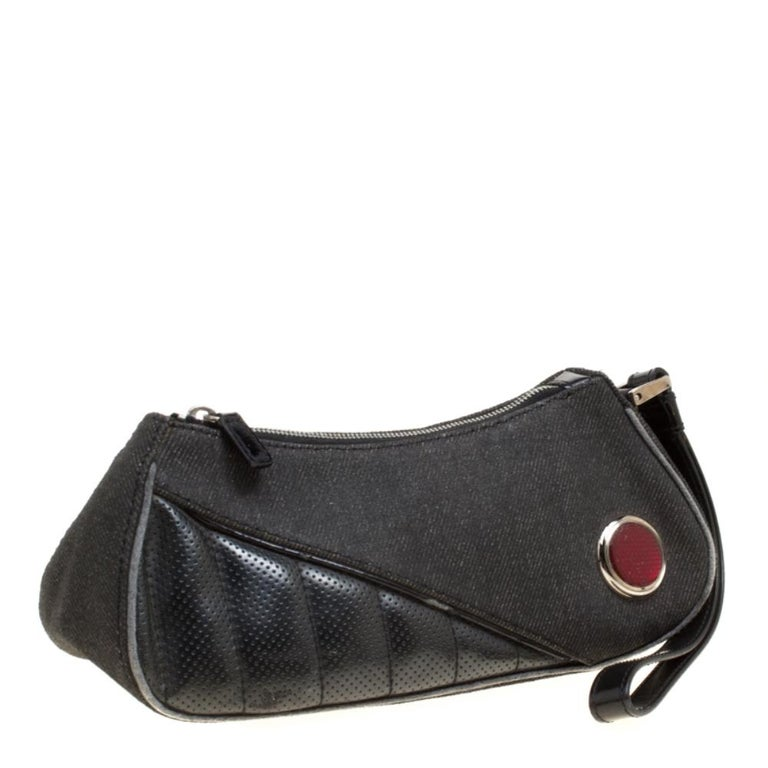 Women's Dior Black Denim and Leather Motorcycle Rockabilly Wristlet Clutch For Sale