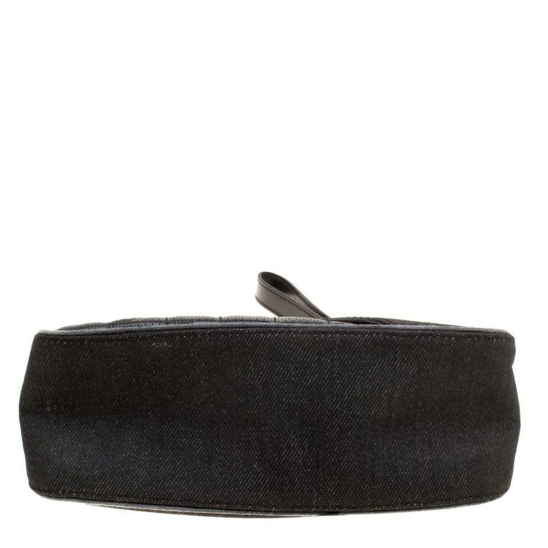 Dior Black Denim and Leather Motorcycle Rockabilly Wristlet Clutch For Sale 1