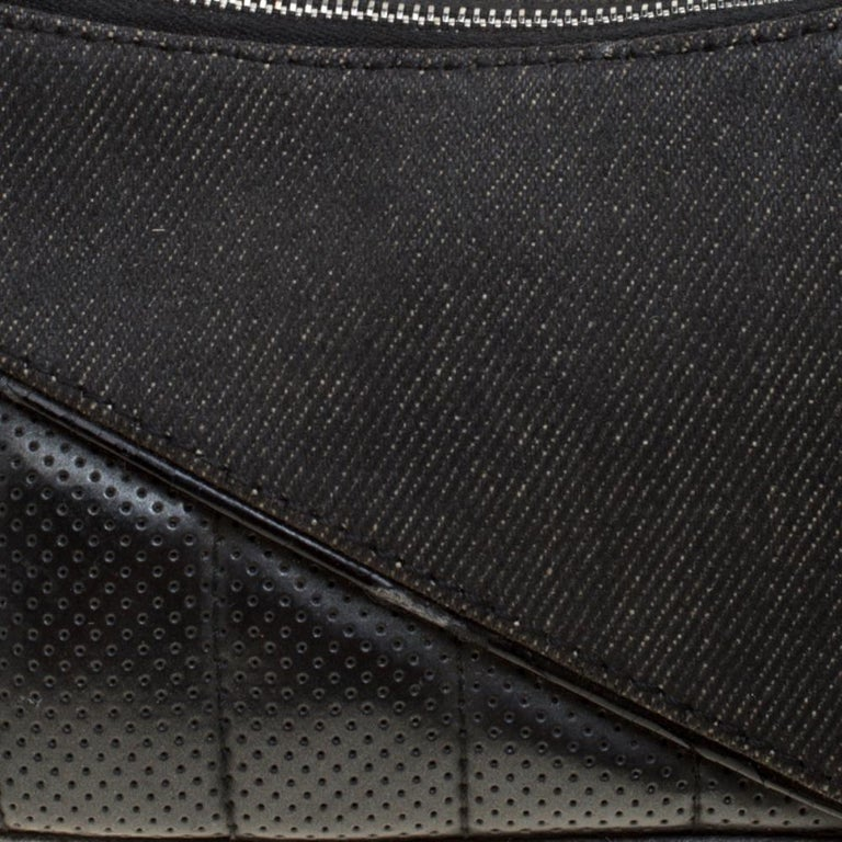 Dior Black Denim and Leather Motorcycle Rockabilly Wristlet Clutch For Sale 2
