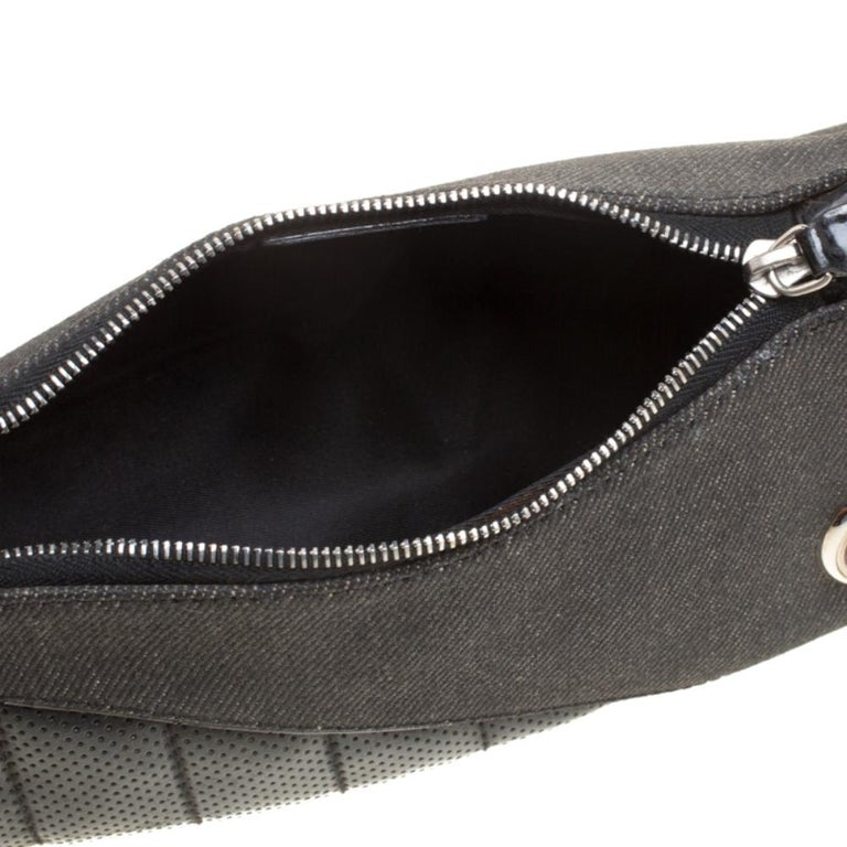 Dior Black Denim and Leather Motorcycle Rockabilly Wristlet Clutch For Sale 3