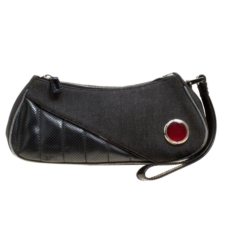 Dior Black Denim and Leather Motorcycle Rockabilly Wristlet Clutch For Sale