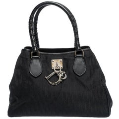 Dior Black Diorissimo Canvas and Leather Charming Satchel