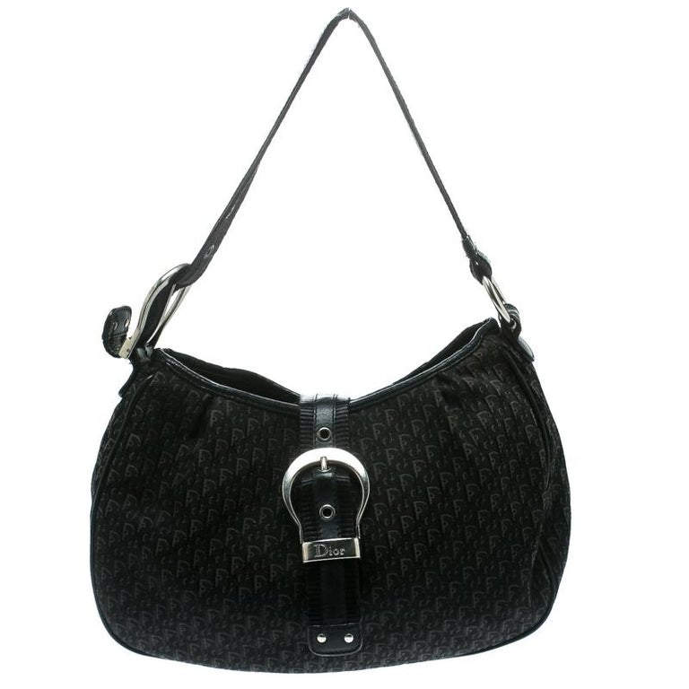 Women's Dior Black Diorissimo Canvas and Leather Hobo For Sale