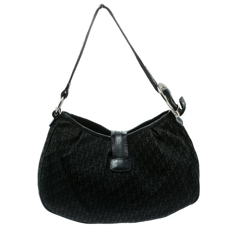 Dior Black Diorissimo Canvas and Leather Hobo For Sale 4