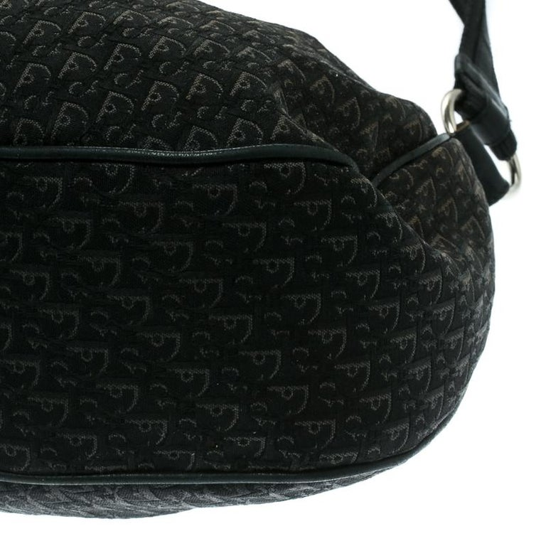 Dior Black Diorissimo Canvas and Leather Hobo For Sale 5