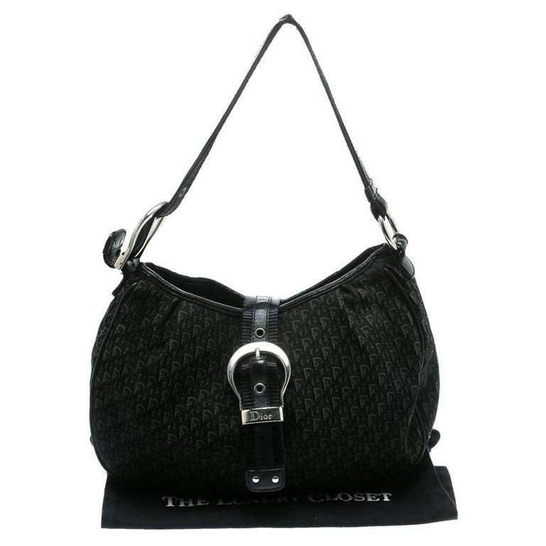 Dior Black Diorissimo Canvas and Leather Hobo For Sale