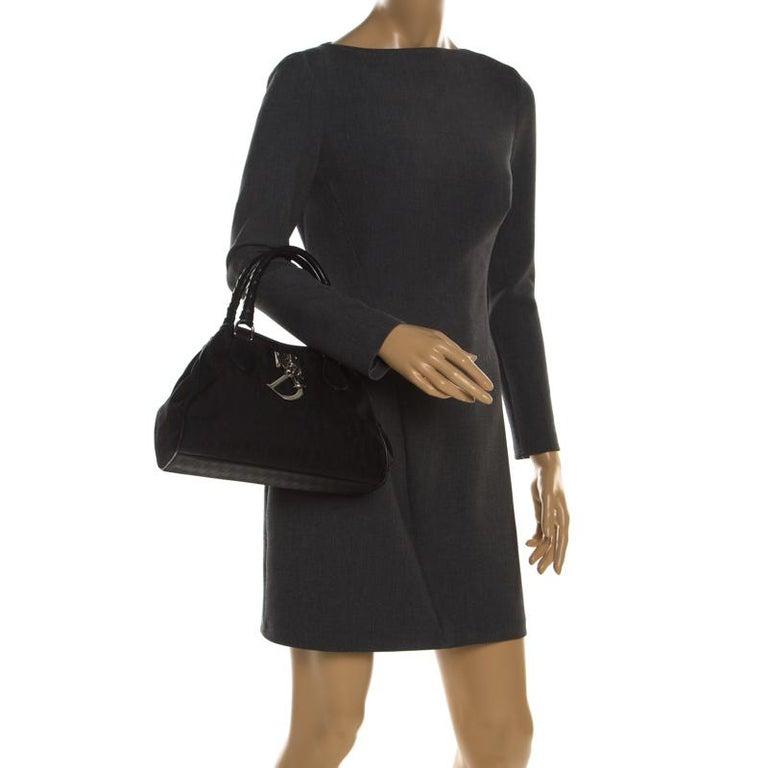 Dior Black Diorissimo Canvas Charming Satchel In Good Condition In Dubai, Al Qouz 2