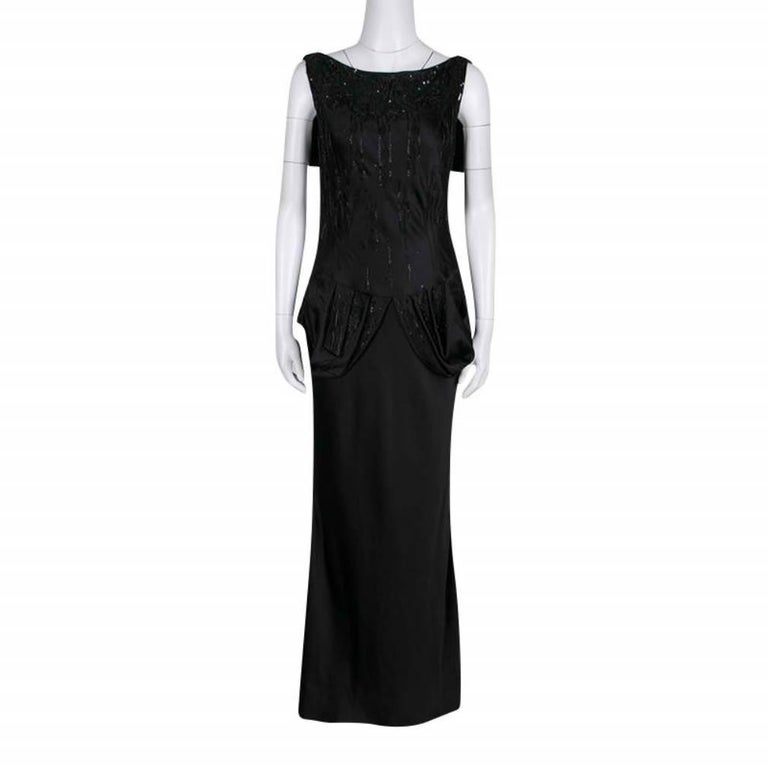 Dior Black Embellished Draped Sleeveless Gown M In Good Condition For Sale In Dubai, Al Qouz 2