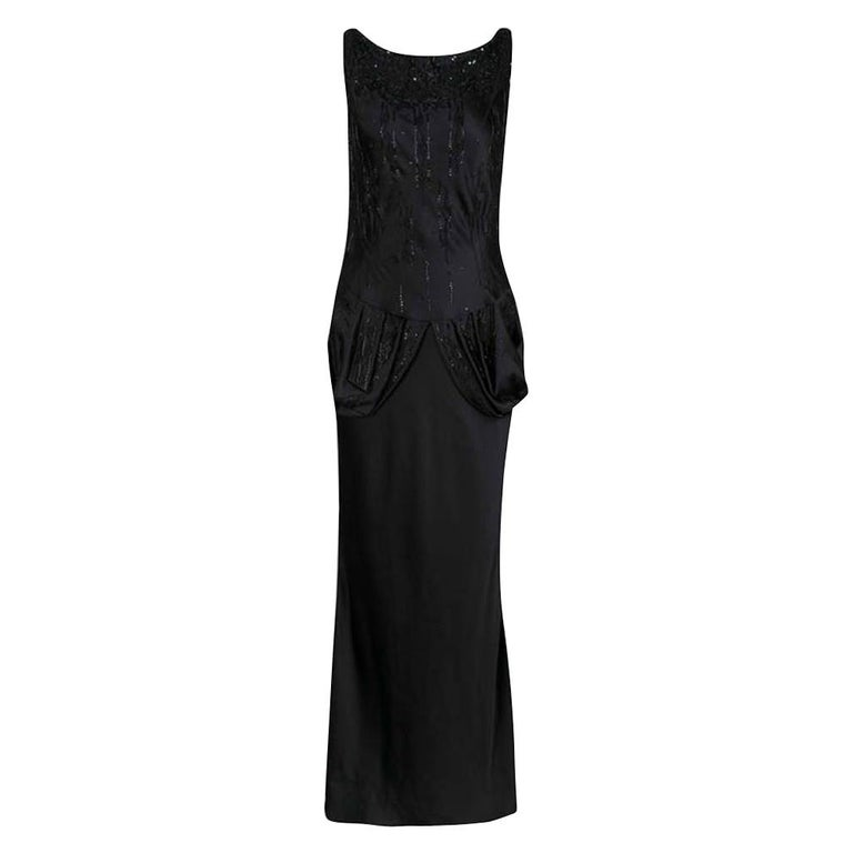 Dior Black Embellished Draped Sleeveless Gown M For Sale