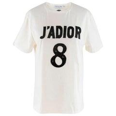 Dior Black Embellished J'adior 8 T-shirt  SIZE S