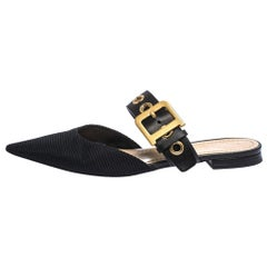 Dior Black Fabric and Leather D Dior Flat Mules Size 39