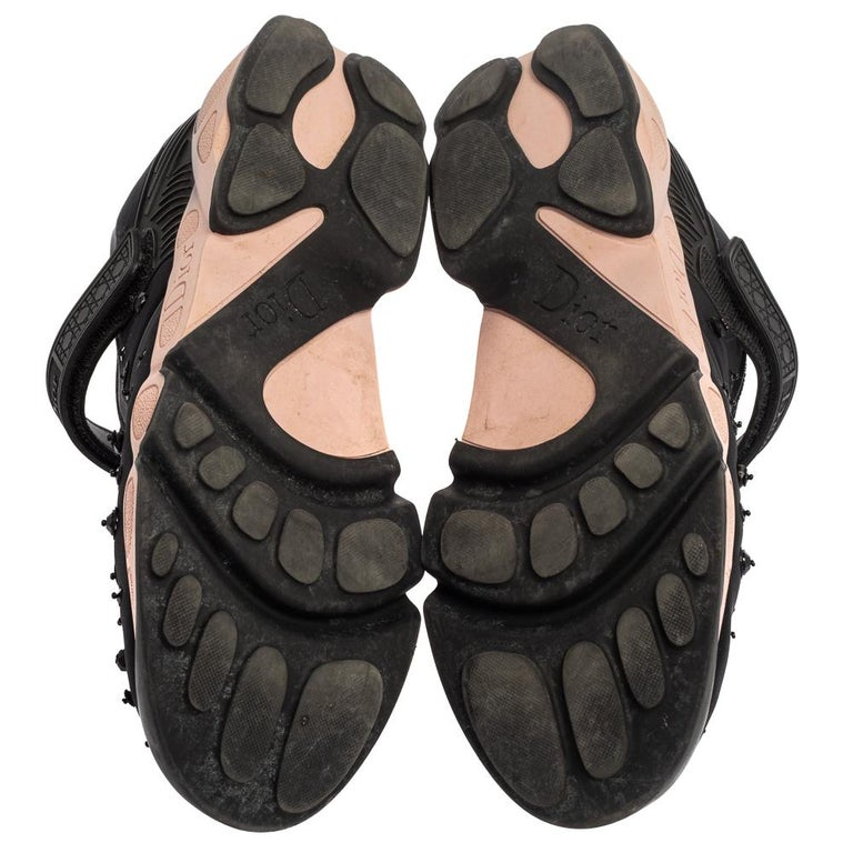 Women's Dior Black Fabric And Mesh Neoprene Fusion Embellished Low Top Sneakers Size 40 For Sale