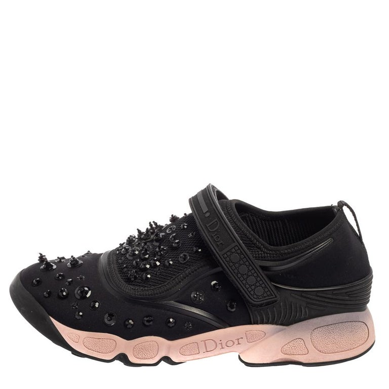 Dior Black Fabric And Mesh Neoprene Fusion Embellished Low Top Sneakers Size 40 For Sale 1