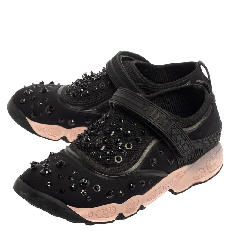 Dior Black Fabric And Mesh Neoprene Fusion Embellished Low Top Sneakers Size 40 For Sale 2