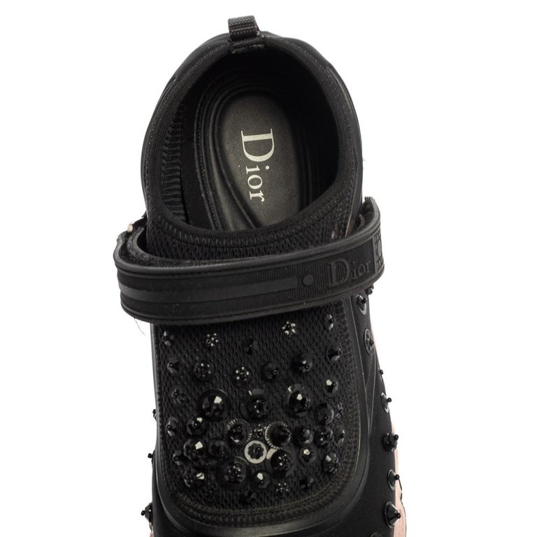 Dior Black Fabric And Mesh Neoprene Fusion Embellished Low Top Sneakers Size 40 For Sale 3