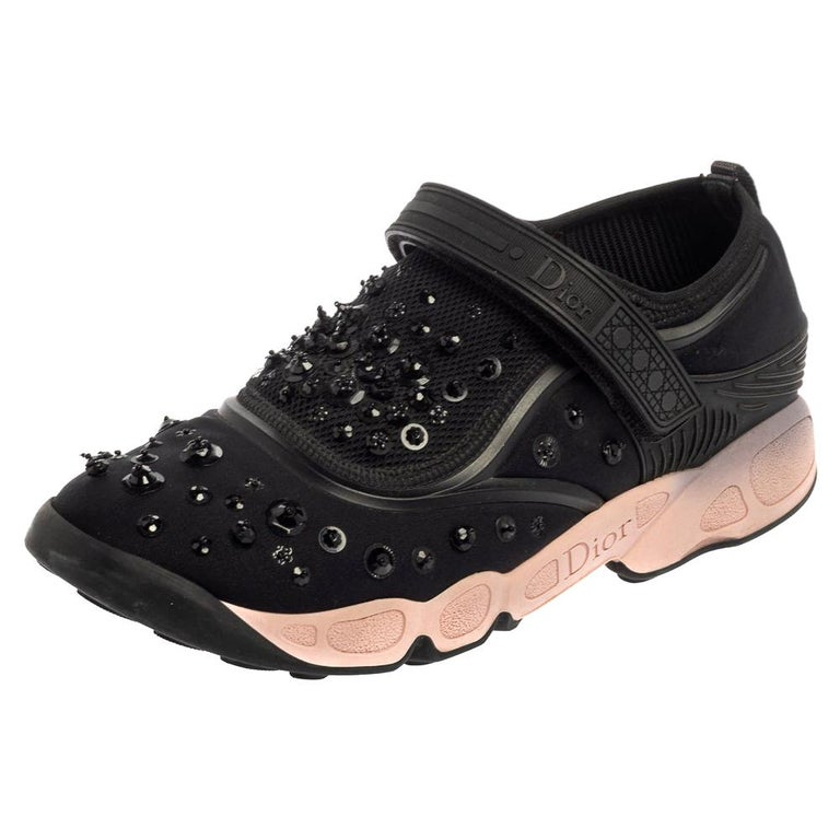Dior Black Fabric And Mesh Neoprene Fusion Embellished Low Top Sneakers Size 40 For Sale