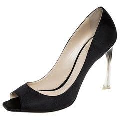 Dior Black Fabric Peep Toe Lucite Heel Pumps Size 41