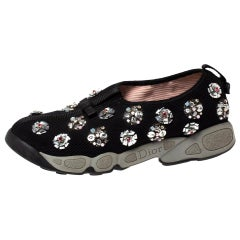 Dior Black Floral Embellished Mesh Fusion Slip On Sneakers Size 38