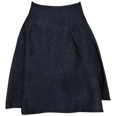Dior Black Floral Embossed Cotton Silk Flared Skirt M