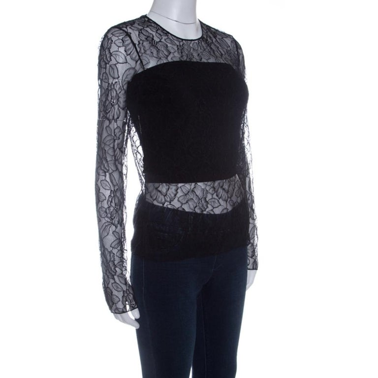 Dior Black Floral Lace Long Sleeve Top M In Good Condition For Sale In Dubai, Al Qouz 2