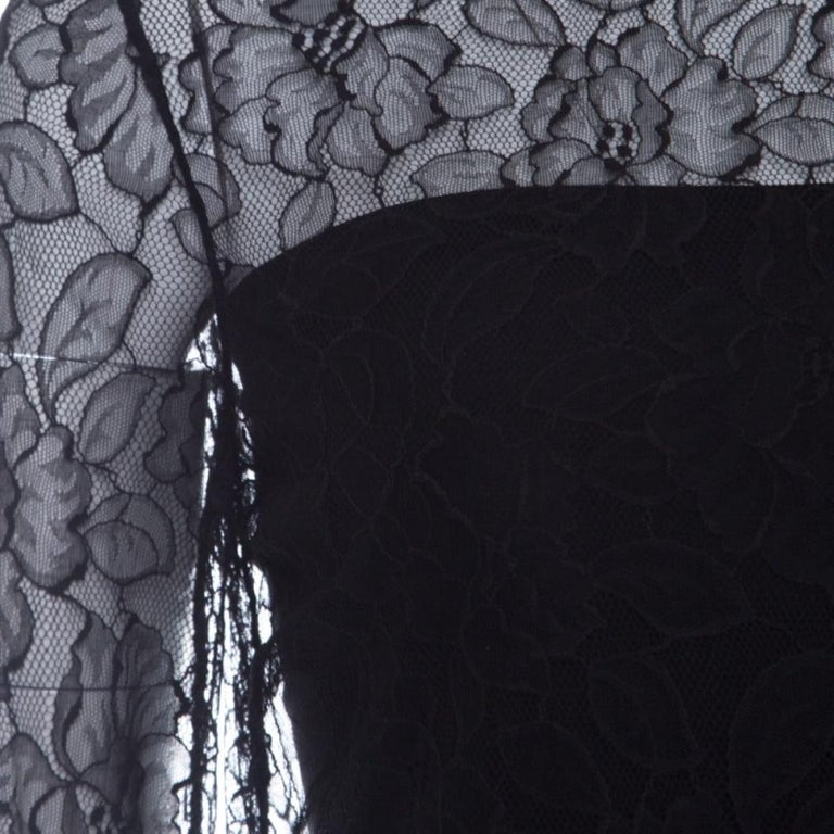 Dior Black Floral Lace Long Sleeve Top M For Sale 1