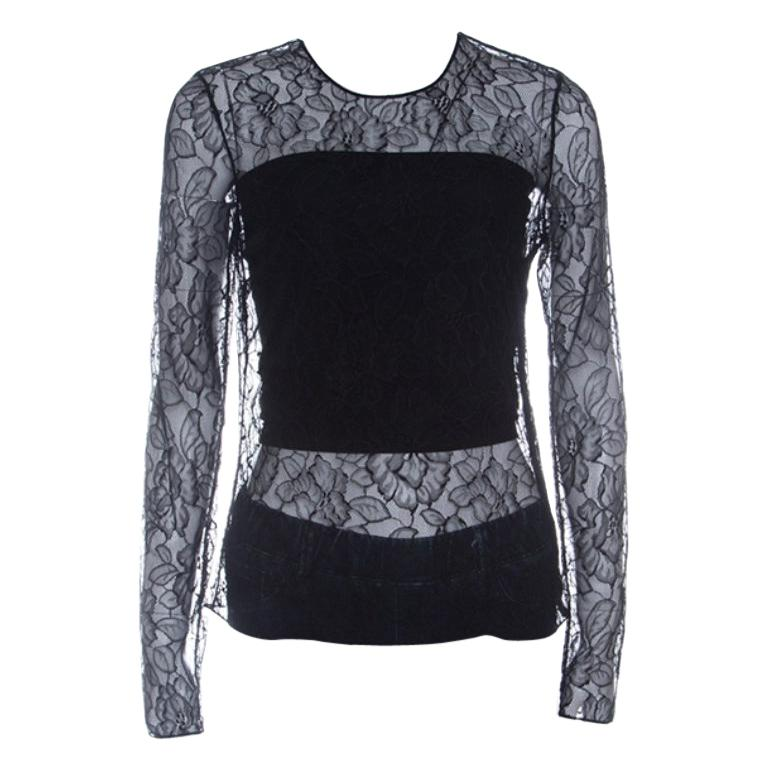 Dior Black Floral Lace Long Sleeve Top M For Sale