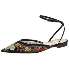 Dior Black Floral Mesh And Leather Trim Pointed Toe Ankle Wrap Flats Size 37.5