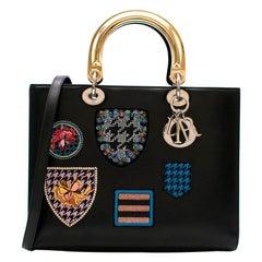 Dior Black Lady Dior Patch Embellished Tote Bag