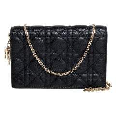 Dior Black Leather Cannage Leather Wallet on Chain