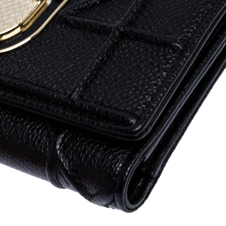 Dior Black Leather Diorama Trifold Wallet For Sale 6