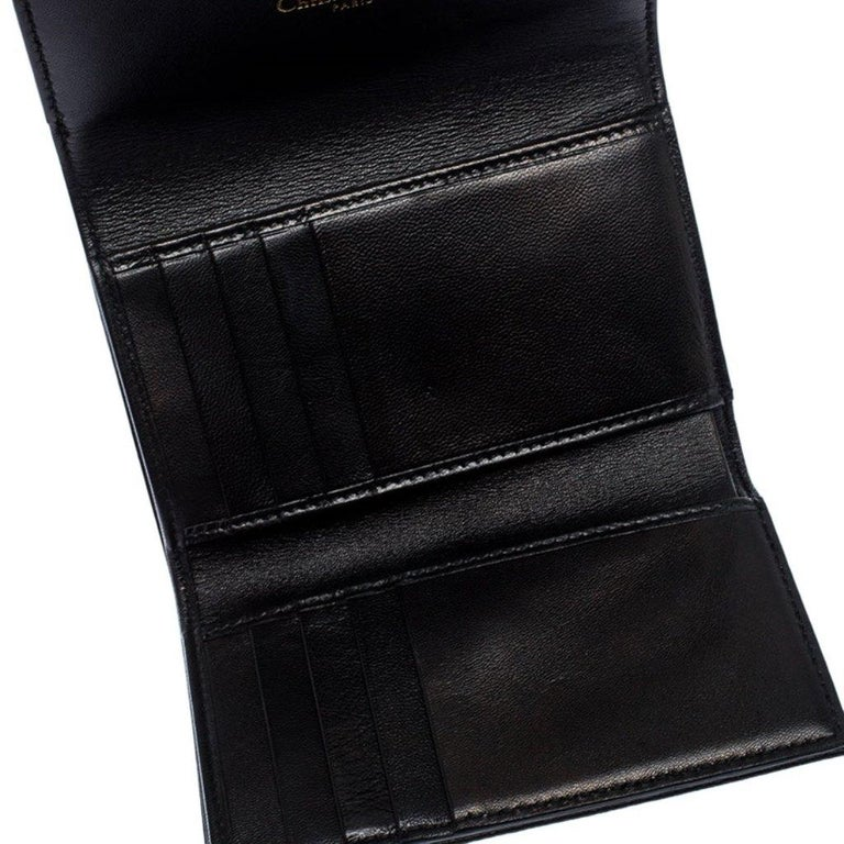 Dior Black Leather Diorama Trifold Wallet For Sale 1